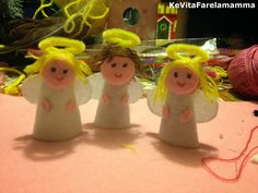 Christmas decoration felted Angels Angeli di feltro e lana