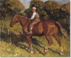 Alfred J Munnings - Alfred Munnings - Farm Boy Riding A Horse Painting