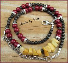 Gemstone Catseye Necklace Adjustable Dark Red Black Yellow Agate Chips | JewelryByScotti - Jewelry on ArtFire