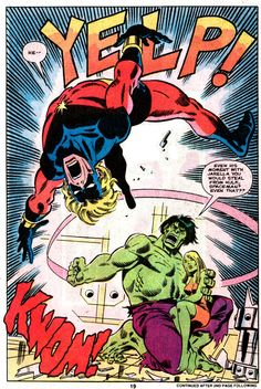 The Hulk backhands Captain Mar-Vell