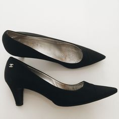 Chanel 2-inch black crepe heel Vintage authentic BEAUTIFUL everyday comfortable heel. I'm super upset that my foot grew out of these. This is a euro size 39. It fits like an 8-8.5 maybe even 9 if you have slim feet. I loved them so much I had them reinforced professionally on the bottom for everyday functionality. They are still in top top shape the crepe looks incredible I just wish the still fit~ so they need a new owner sadly~ CHANEL Shoes Heels