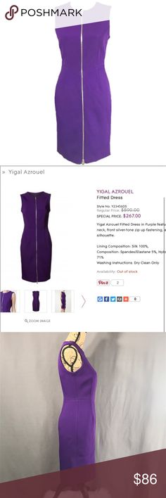 Purple Zip up Scuba Bodycon from Yigal Azrouel NY Gorgeous Deep Purple Full Zip Scuba Dress from Yigal Azrouel New York.  In perfect condition! Yigal Azrouel Dresses Midi