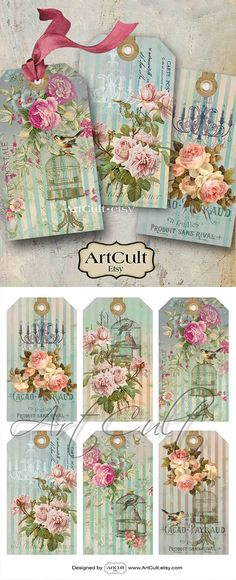 Printable Download Images PEACEFUL MORNING gift tags Jewelry Holders Digital Collage Sheet Vintage Paper Scrapbooking clip art by ArtCult