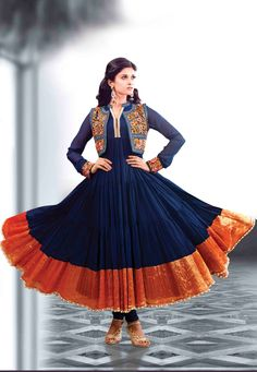 Buy online Salwar Kameez for women at Cbazaar for weddings, festivals, and parties. Explore our collection of Salwar suits with the latest designs. Frock Fashion, Suit Fashion, Fashion Photo, Indian Dresses, Indian Outfits, Blue Dresses, Indian Clothes, Pakistani Dresses, Anarkali Dress