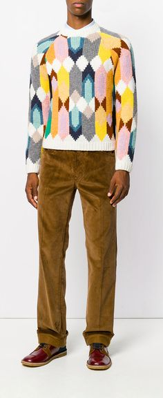 PRADA Handmade Geometric Knitted Sweater, explore Prada on Farfetch now.