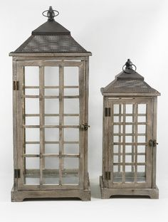 "REALLY WANT IT :: Set of Two Huge (30"" & 21"") Wood & Glass Belleville Lanterns :: $90 