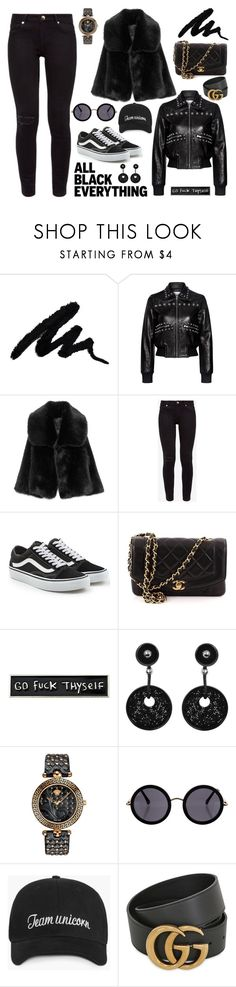 """""""Senza titolo #6938"""" by waikiki24 ❤ liked on Polyvore featuring RED Valentino, Ted Baker, Vans, Chanel, RIPNDIP, Giorgio Armani, Versace, The Row, Gucci and allblackoutfit"""