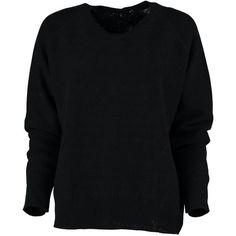 Cashmere Blend Button Back Reversible Sweater in Black ($249) ❤ liked on Polyvore featuring tops, sweaters, over sized sweaters, loose sweater, oversized sweaters, loose fitting tops and loose tops