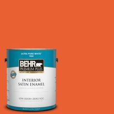 BEHR Premium Plus 1-gal. #S-G-230 Startling Orange Zero VOC Satin Enamel Interior Paint-730001 at The Home Depot
