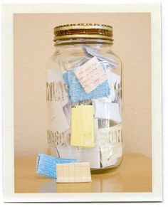 A memory jar.  Jot down memorable moments throughout the year and read with family on New Years Eve.  Neat.