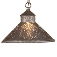 Stockbridge Shade Light Pendant with Chisel in Punched Tin Blackened Tin or Rustic Tin Ceiling Fan Chandelier, Ceiling Pendant, Ceiling Fixtures, Ceiling Lamp, Pendant Lights, Wooden Chandelier, Chandeliers, Country Kitchen Lighting, Farmhouse Pendant Lighting