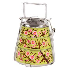 Stainless steel tiffin lunch box with a cherry blossom motif.   Product: Tiffin setConstruction Material: Stainl...