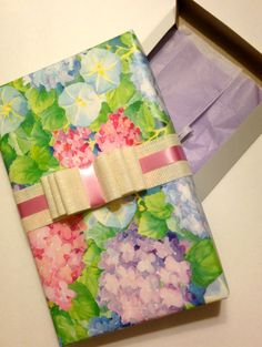 Ready for your gift!!! Wrapped apparel box with PAPYRUS wrapping paper and burlap ribbon. So pretty!