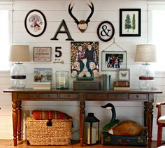 Pottery Barn Tivoli console table on diy plank shiplap gallery wall - www.goldenboysandme.com