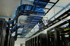 Overhead data cabling with ladder racks. With power running under floor, makes for easy management. www.pducables.com