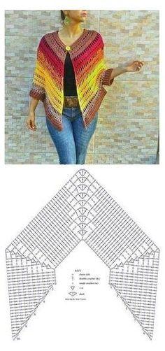 Crochet Shawl Diagram, Crochet Poncho Patterns, Crochet Shawls And Wraps, Crochet Jacket, Crochet Cardigan, Crochet Scarves, Crochet Clothes, Crochet Stitches, Crochet Cape Pattern