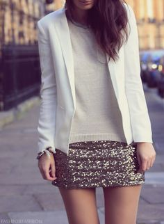 sequin mini skirt, sweater & blazer