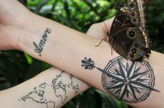 World map tattoo & Compass tattoo. Fleur de Lis too!
