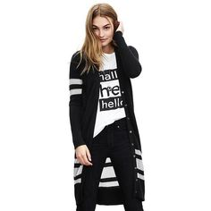 Banana Republic Womens Multi Stripe Long Cardigan Size S - Black ($110) ❤ liked on Polyvore featuring tops, cardigans, long sleeve cardigan, black long sleeve cardigan, v-neck tops, striped cardigan and petite tops
