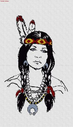 0 point de croix indienne  - cross stitch american native, indian girl