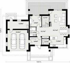 Projekt domu Kleo 185,06 m² - koszt budowy - EXTRADOM 4 Bedroom House Designs, House Furniture Design, Architecture Courtyard, Modern Architecture House, House Floor Plans, Planer, New Homes, Bedroom Decor, Construction