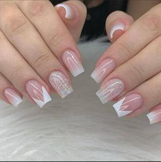 Sparkly Acrylic Nails, Pink Glitter Nails, Best Acrylic Nails, Fancy Nails, Purple Nails, Pretty Nails, Cute Acrylic Nail Designs, French Nail Designs, French Manicure Nails