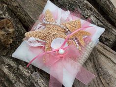 Coral Beach Ring Bearer Pillow Beach Wedding  by OneFunDay on Etsy, $26.00