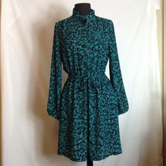Shirt dress Ann Taylor Loft teal animal print dress Dresses Long Sleeve