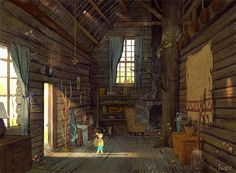 "First interior concept for the giant's cabin from ""Dragonfly Holiday."""