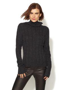 Ribbed High Low Pocket Sweater by Vera Wang