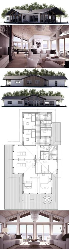 Small House Plan with three bedrooms, and open planning. Floor Plan from ConceptHome.com Open Floor Plans, Living Rooms, Cottage House Plans, Beach Houses, House Plans Small, Small House Plans, Three Bedrooms, Small Houses, Modern House