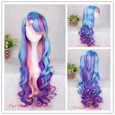 80cm-long-font-b-pretty-b-font-blue-lolita-multi-color-mixed-Cosplay-font-b-wigs.jpg (602×602)
