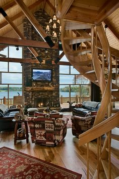 Gorgeous Log Home On The Lake Big Windows Look Out Onto The Lake Fabulous  Spiral Wood Staircase High Ceilings Cozy Living Room, My Kind Of Cabin.