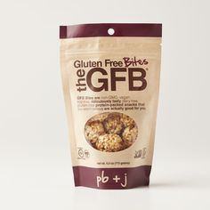 Gluten Free Bites: PB + J Virginia peanuts, organic brown rice syrup, dried fruit (cranberries, cherries, sugar, sunflower oil), complete protein blend (brown rice protein, pea protein), organic agave nectar, organic brown rice, organic dates, natural flavors (vanilla, strawberry, cherry), flaxseed, sea salt. contains peanuts.