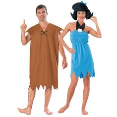 Adult's Barney & Betty Rubble Couples Costumes New idea! We're gonna be bam bam and Betty :) and if Ethan's home he can be the dad Adult's Barney & Betty Rubble Couples Costumes Homemade Halloween, First Halloween, Family Halloween, Halloween Ideas, Halloween 2020, Halloween Party, Halloween Stuff, Halloween Crafts, Halloween Decorations