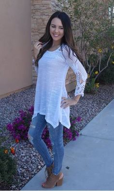 Picture of Kenzie Knit Tunic Top (white)