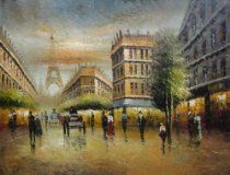 Vintage Parisian Street and Paris Eiffel Tower Scene Oil Painting. http://astore.amazon.com/modefash03-20/detail/B005A0LGQM