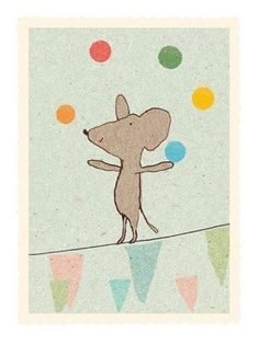 Maileg Juggling Mouse Card - A Stationery and Craft Emporium - le petit paperie