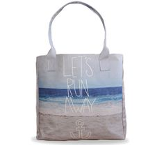 "Artist Designed Tote bag /Shopper Bag/Beach by Create&Case ""Let's Run Away"" stylish, unique, colourful vegan leather bag, anchor design"