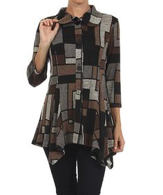 Love this Brown & Black Patchwork Jacket by Come N See on #zulily! #zulilyfinds
