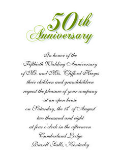 50th Wedding Anniversary Invitation 1 - No. 6 Flat Card
