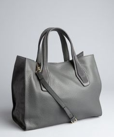 Tod's : stone grey pebbled leather convertible tote