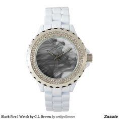 Black Fire I Rhinestone with White Enamel Watch Designed by Artist C.L. Brown and available in a variety of styles on Zazzle. #watch #watches #fashion #artbyclbrown
