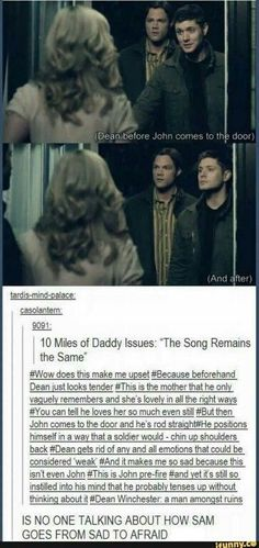"""Supernatural """"The Song Remains The Same"""" <<< and this is just one reason why i hate john John Winchester, Winchester Brothers, Destiel, Misha Collins, Jared Padalecki, Jensen Ackles, Supernatural Memes, Spn Memes, Fandoms"""