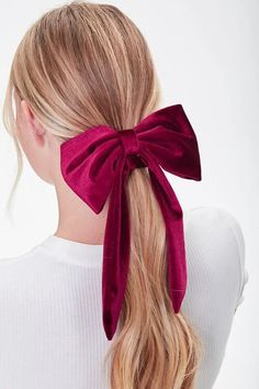 Red Hair Accessories, Women Accessories, Bow Hair Clips, Hair Ties, Classy And Fab, Red Hair Bow, Perfect Ponytail, Forever 21, Velvet Scrunchie