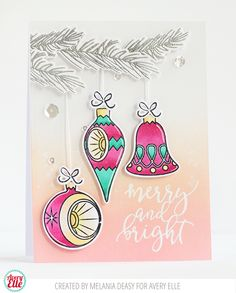 Melania Deasy for Avery Elle Supplies: Retro Ornament Clear Stamps Retro Ornament Ellements  Comfort & Joy Clear Stamps