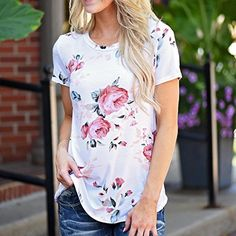 9592bca1 Amazon.com: Kshion Women Polyester Short Sleeve Flower Printed Blouse  Casual Tops T Shirt
