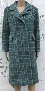 Vintage Wool Winter Coat Ladies Plaid Blue Green 60's Coat Mid Calf Length Dress | eBay