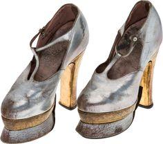 Movie/TV Memorabilia:Costumes, A Mae West Pair of Platform Heels, Circa 1930s....