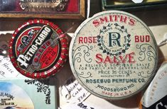 SMITH ROSE bud salve vintage tin #red #packaging